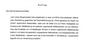 Auszug aus dem Dringlichkeitsantrag der ÖVP bei der Gemeinderatssitzung am 23.5.2013